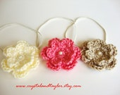 Set of 3 Elastic Headbands with Crochet Flowers Attached - Ivory, Peach, and Light Brown - Perfect for Photos