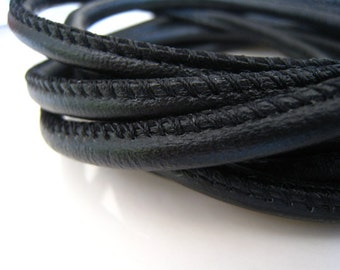 1 Yard of 6mm Jet Black Round Leather Cord