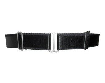 Bondage-inspired wide black satin elastic leg garter with silver metal sliders