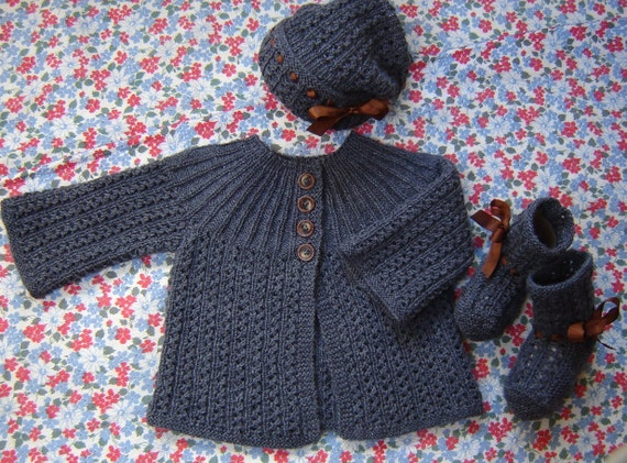 Baby Girl Sweater Set Hand Knit Hat Booties Wool SZ by SwanAvenue
