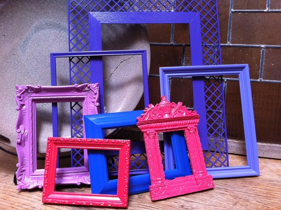 Vintage Frames, 5 x 7 Frame, 8 x 10 Frame, Upcycled, Painted Frames, Funky Home Decor, Bright Frames, Upcycled