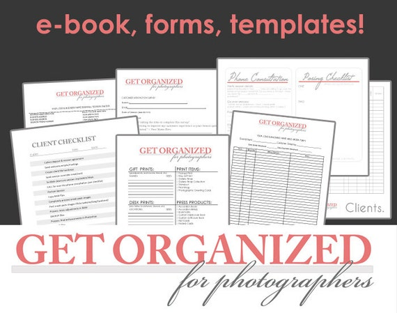 Get Organized FOR PHOTOGRAPHERS Photography Business Forms, E-book and Templates Contract with Model Release