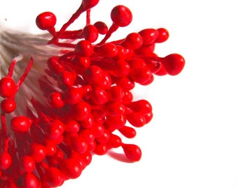 True Red Millinery Flower Stamens