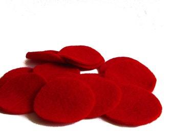 "50 pcs, 1.5"" Red Felt Circles for Fascinator, Hair Clip, Brooch backs, appliques"