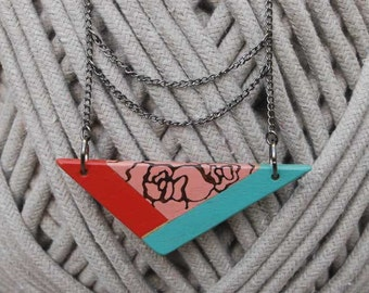 Colorful Triangle Necklace  Geometric Necklace Blue Red