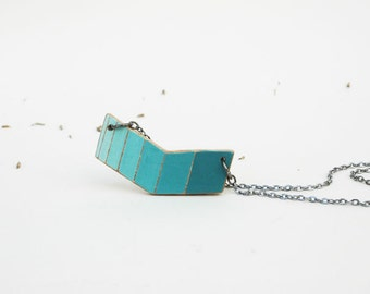 Small Chevron Necklace Blue Geometric Necklace Wooden Pendant Necklace Double Sided Made to Order