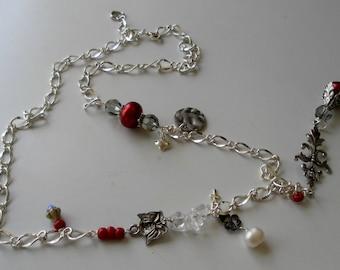 Red Necklace Angel Necklace  Deep Red Necklace Charm Necklace Romantic Necklace