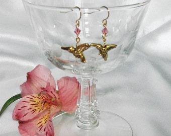 Gold Hummingbird Dangle Earrings with Swarovski Crystal Choose Color
