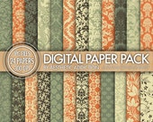 Fall Damask Super Pack 24 Pack Digital Paper - Brown Green Orange Beige - JPG Format - 24139