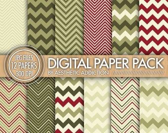 Christmas Chevron Digital Paper Pack // Red Green Beige // Chevron Zig Zag Lines // Commercial Use // 12411