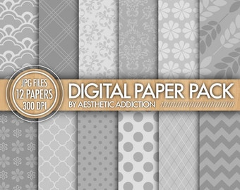 Gray Digital Paper Pack Printable Background for Personal or Commercial Use Digital Collage Sheets - 12 Sheets - 12165