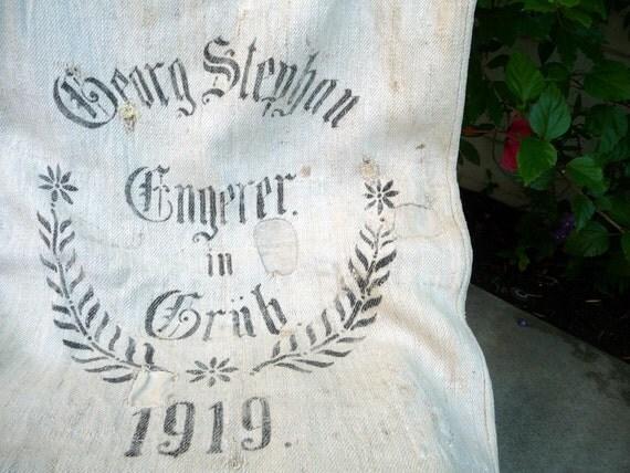 Vintage Grain Sack Black Stencil 1919// German Hand Made Linen Primitive Rustic Textile