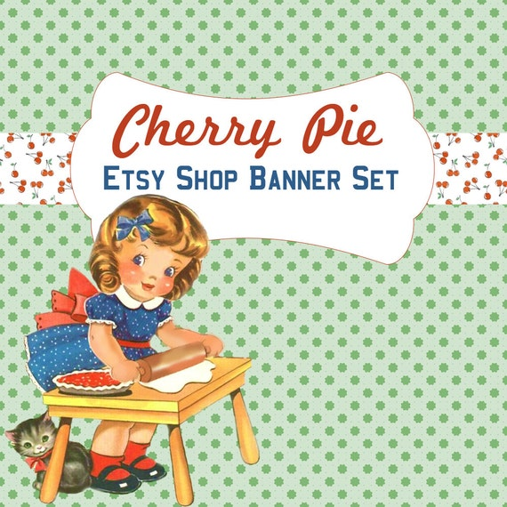 Etsy Shop Banner Set Cherry Pie - Pre-made Cute 1950s Baking Design - 5 Piece Design - Great for Bakeries