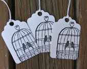 Hand Stamped  Gift Tags  - Love Birds Bird Cage - Set of 8