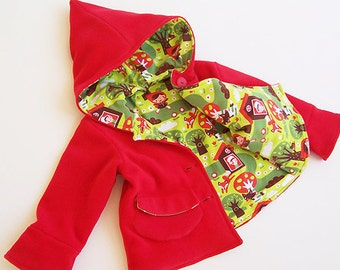 LITTLE RED Riding Hood Girl Jacket pattern Pdf sewing, Coat Long Sleeve Knit Fleece Woven, toddler baby 2 3 4 5 6 7 8 9 yrs Instant Download