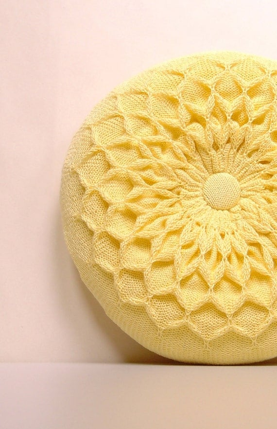 Pillow SALE Yellow Knitted Round Waffle Cushion Primrose Yellow Pillow Yellow Round Pillow Medium Size Pastel Cushion Sunshine Yellow Pillow