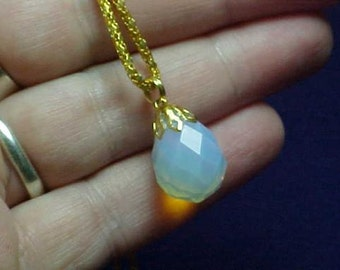 Opalite Necklace, Gold, Beautiful Iridescence, Aurora Borealis, Sea Opal Glass, New, Handmade