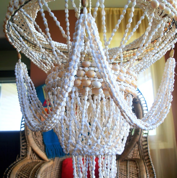 Fabulous Large Seashell Chandelier Vintage 70s By