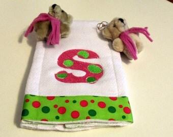 Embroidery Baby Burp Cloth  Tiny Bubbles Alphabet Font