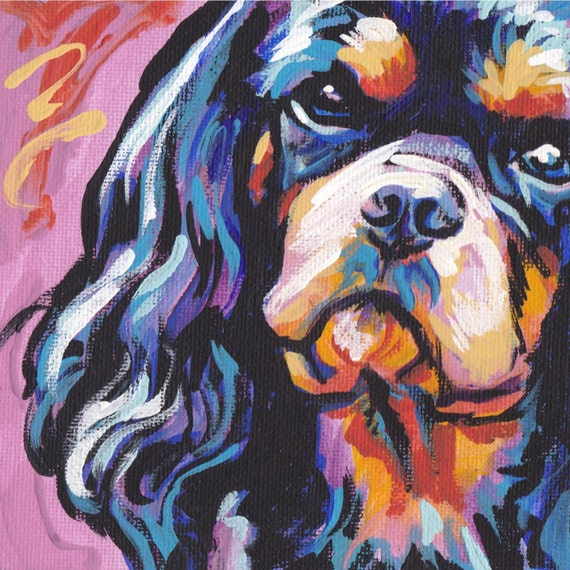 black and tan Cavalier King Charles Spaniel art print modern Dog art pop art bright colors 8x8[BentNotBroken/Etsy]