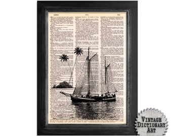 Sailing Ship passing Palm Tree Island - Nautical Art Design Printed on a Vintage Dictionary Paper - 8x10.5
