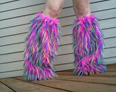 Neon Monsters-Neon pink,neon yellow,neon blue,neon green,spikey fur with blue lace tops -Ready to ship