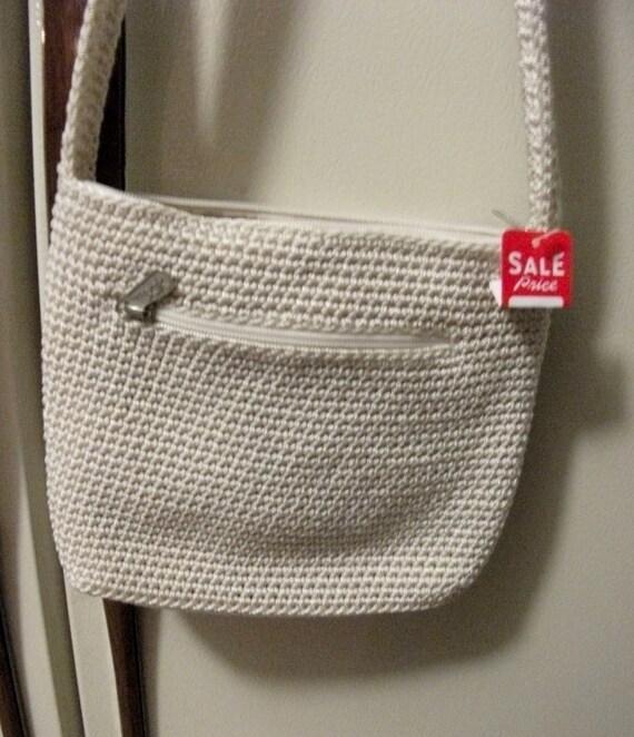 Vintage Authentic The Sak Macrame Shoulder Bag Purse Outside Zip Pocket Only 7 USD