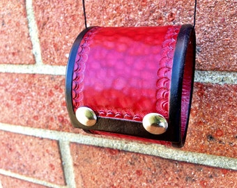 Handmade and Hand Tooled Red and Black Leather Wrist Cuff With Two Silver Tone Snaps