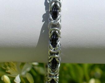 Black and Silver Byzantine Bracelet - Ready to Ship