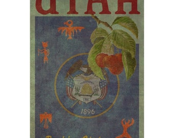 UTAH1F- Handmade Leather Wall Hanging - Travel Art