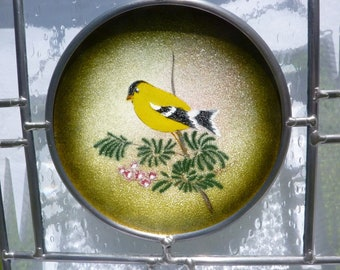 Stained Glass Enameled Plate Panel