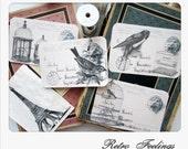 Handmade Stickers Vintage Birds Ephemera Shabby