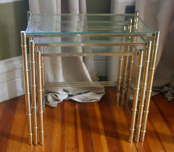 RESERVED for Bianca Sotelo ---Vintage Set of Brass Faux Bamboo Nesting Tables