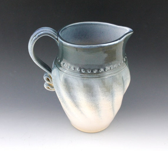 Summer Clearance Sale - Pottery Pitcher - blue and white - Ceramic Pitcher - North Carolina Pottery