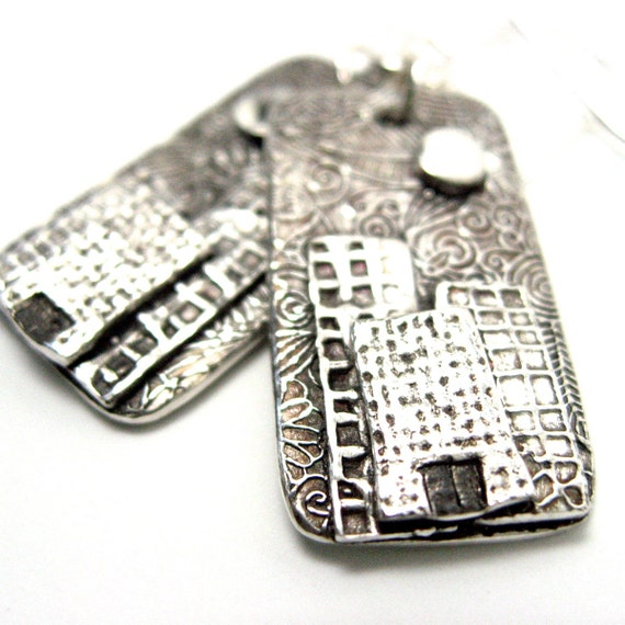 Fine Silver Earrings Cityscape Made to Order E-2 584