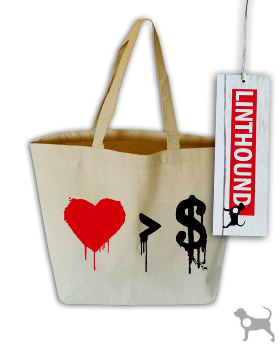 Love Vs. Money Natural Canvas Grocery Tote Bag
