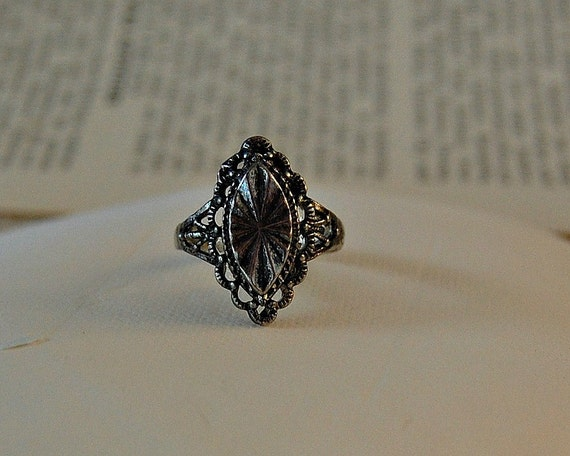 Wild West / Bali Silver / Steampunk / Victorian / Vintage / Applied Patina Solid Band Ring