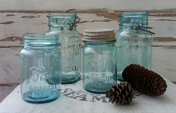 Bright Blue Aqua Canning Or Fruit Ball Mason
