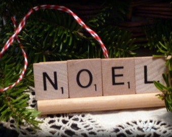 NOEL Repurposed Wooden Scrabble Tile Rustic Farm Christmas Holiday Tree Ornament