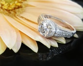 Herkimer Diamond Engagement Ring 14K Gold With Diamond Accents