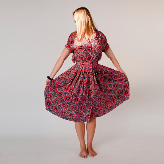 muted red Geometric Print Dress Playsuit Skirt