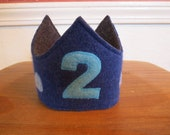 Reversible Waldorf 2nd Birthday Crown Recycled Wool Sweater Star Applique Adjustable