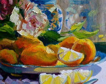Art Print BLOMMETJIE BLOU of lemons and a Delft Vase. Blue and Yellow. Still life.