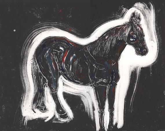 SALE Horse Original Monotype Art Print