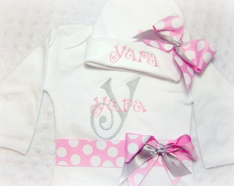 Newborn girl take home outfit, personalized baby girl coming home outfit, Baby Name Gown, Pink and Grey Monogrammed Baby Clothes