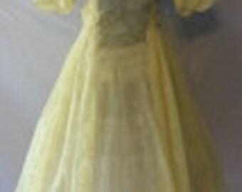 Sweet 1950s Yellow Flocked Sheer Bouffant Dress
