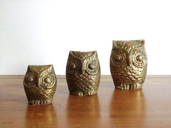 Trio of Brass Owls, Vintage Figurines