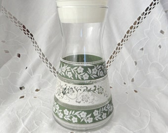 Vintage Juice Glassware Bottle/Carafe, Green and White Flower Design