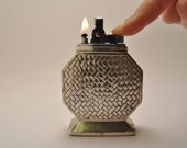 Working Silver Plated Table Lighter Made In Japan