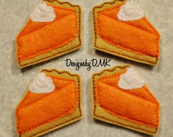 Pumpkin Pie Slice Felt Embroidered Embellishment Clippie Cover SET of 4 - Multiple Sets Available